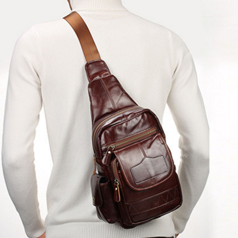 New Mens Genuine Leather Cowhide High Quality Crossbody Bags Single Shoulder Bag Travel Climb Sling Chest Pack<br>