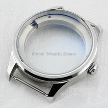 43mm Sterile silver Stainless steel watch Case Fit Seagull 25 Series Movement
