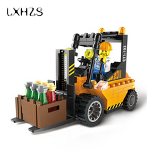 City Heavy Forklift Trucks Puzzle Assembly Inserted Small Particles Building Gift Toys 115pcs/set