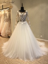 Buy Vestido de novia New Amazing Long Wedding Dress 2018 Scoop Long Sleeves Chapel Train A-Line Appliques Tulle Wedding Gowns for $242.10 in AliExpress store