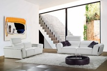 cow genuine leather sofa set living room furniture couch sofas living room sofa stainless steel adjustable headrest 2+3 seater(China)