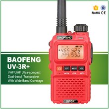 Hot Sell Dual Band Original Red Mini BAOFENG UV-3R+ Ham Walkie Talkie with Earphone