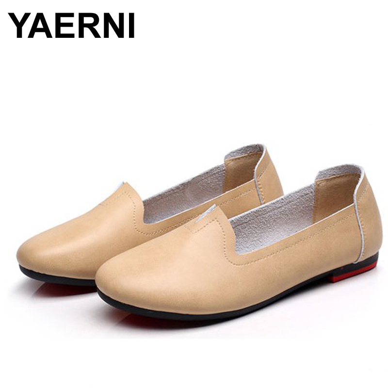 YAERNI women Genuine Leather Flats Handmade Moccasins casual shoes female loafers soft Comfortable Driving Shoes Plus Size 43<br>