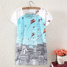 2017 Fashion Vintage Spring Summer Style Harajuku T Shirt Women Clothing Loose Tops T-shirt kite digital  Print Woman Clothes