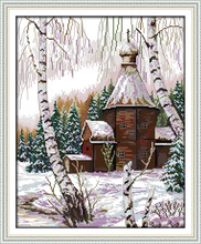 Winter scenery cross stitch kit snow tree pre-printed count 18ct 14ct 11ct hand embroidery DIY handmade needlework supplies bag(China)