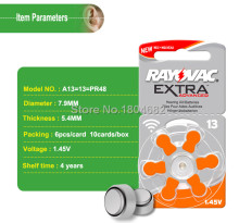 30 PCS/LOT RAYOVAC EXTRA Zinc Air Performance Hearing Aid Batteries A13 13A 13 P13 PR48 Hearing Aid Battery A13 Free Shipping(China)