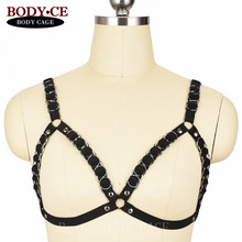 Buy Womens Sexy Lingerie Body Harness Goth Rivet Iron Ring Belts Black Elastic Adjust Bondage Strappy Tops Cage Bra Fetish Rave Bra