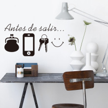 & Creative Spanish Before Leaving Purse Phone Key Smile Wall Stickers Bedroom Kids Room Home Decor 3d Vinyl Posters Wall Decal