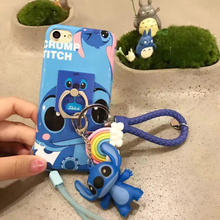 Cute 3D Cartoon Stitch Suit Monster Cover Pendant Ring Rainbow Doll TPU Coque Soft Phone Case For iPhone 5 5S SE 6 6S 7 Plus