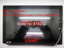 Laptop LCD Touch & Dispaly Screen+Top Cover+Bezel+Hinge+LCD Cable Assembly For Lenovo IdeaPad U530 B156HTN03.4 90400216 90400217
