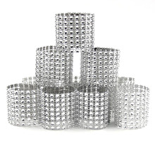 New Sale! 20PCS/Lot Silver 8 Rows Bow Covers With Closure Napkin Ring Diamond Home/Wedding Party Chair Sashes Decoration Crafts