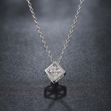 SHUANGR Top Quality Hollow Out Cube Crystal Rose Gold Color Pendant Necklace Jewelry Austrian Crystal Wholesale