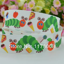 "DUWES 7/8"" 22mm Very Hungry Caterpillar Printed grosgrain ribbon,hairbow DIY handmade clothing 50yards wholesale OEM(China)"