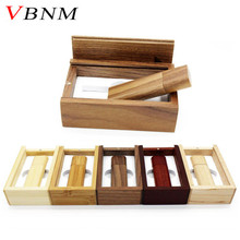 VBNM Wooden bamboo + wood box USB flash drive pen driver pendrive 4GB 8GB 16GB 32GB memory card USB creativo personal LOGO(China)