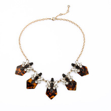 Fashion Custom Jewelry Simple Modern Leopard Design Art Deco Turtle Crystals Cluster Floral Statement Necklace