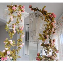 Wedding Decoration Artificial Fake Silk Rose Flower Vine Hanging Garland Wedding Home Decor For Xmas Decorative Flowers & Wreath(China)
