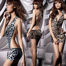 Sexy tight Leopard Sleepwear sexy adult lingerie 3S4018 +Free shipping Leopard Pattern Backless Sexy Suit