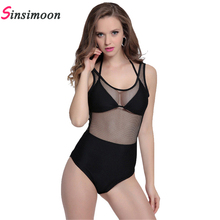 Mesh lace one piece swimsuits halter black backless swimwear women 2017 high waist hollow out swim suit maillot de bain femme