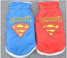10pcs/lot  2016 Hot Sale High Fashion Pet Cat Dog thickness cotton Superman coat Vest  warm Outerwears Jumper hoody  PC12-3