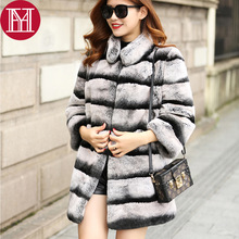 2017 long style women real natural rex rabbit fur coat high quality100% genuine rex rabbit fur chinchilla color winter jacket