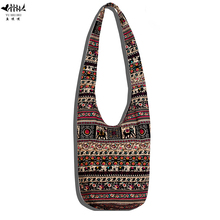 Unique Sling Hippie Crossbody Bag Shoulder Bags Women Cotton Canvas Thai Top Zip Hobo Sling Bag Handmade Hipster Messenger Bags(China)