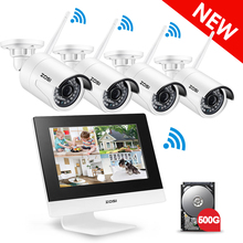 "ZOSI 4CH CCTV System Wireless 960P 10"" LCD NVR Security Camera System 1.3MP IR Outdoor P2P Wifi IP Camera Surveillance Kit 500GB(China)"