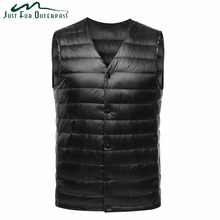 2018 New Fashion Ultra Light Down Vest Men Spring Autumn Sleeveless Collarless Vest Male Casual Winter White Duck Down Waistcoat(China)