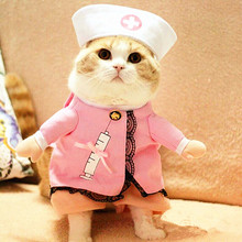 Cute Pet Cat Costume Clothes For Cat Funny Costume Cat Clothes Dress Apparel Nurse Suit Outfit Pet Clothes Cotton Apparel 30(China)