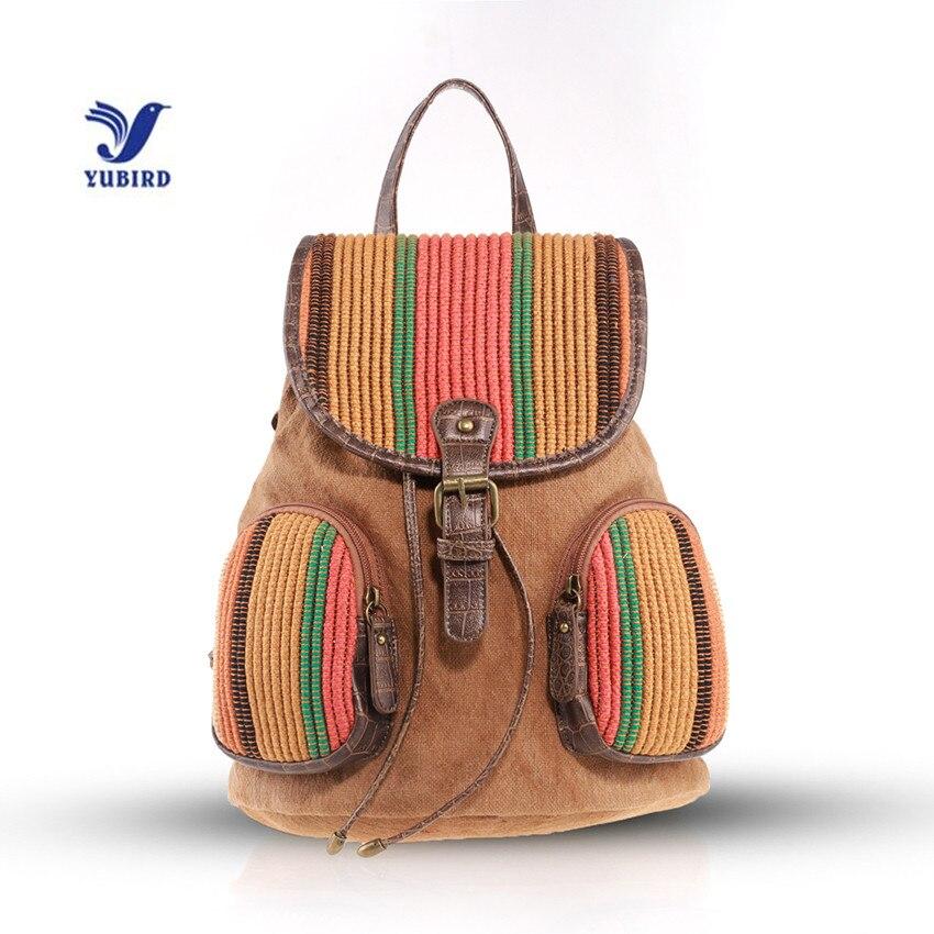 YUBIRD Drawstring Backpack Women Canvas Backpack College School Bags for Girls Patchwork Travel Backpack Female mochila tela<br>