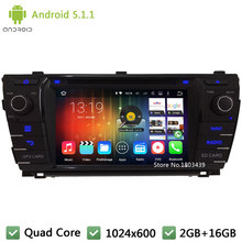 "Quad core WIFI DAB+ FM BT Android 5.1.1 7"" 1024*600 Car DVD Player Radio Stereo PC Audio Screen GPS For TOYOTA Corolla 2013-2015(China)"