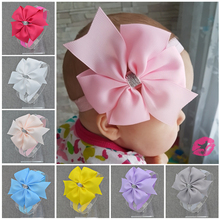 NEW Floral Headband Silver ribbon bow Bow knot Hairband Hair Weave Band kids Lovely Accessories Gifts(China)