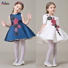 2016 New Girls dress tutu dress princess embroidered high quality wedding party gift fashion flower kids children's clothing