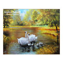 Top Fashion Diamond Embroidery Painting 5D Diy Diamond Mosaic Picture Cross Stitch Diamond Mosaic Resin Decoration Swan Birds(China)