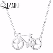 QIAMNI 925 Sterling Silver Bike Bicycle Chain Choker Necklace Pendant Women Birthday Sport Riding Jewelry Lover Gift