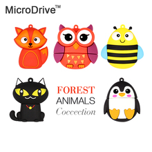 wholesale price cute penguin owl fox pen drive cartoon usb flash drive pendrive 4GB/8GB/16GB/32GB U disk animal memory stick(China)