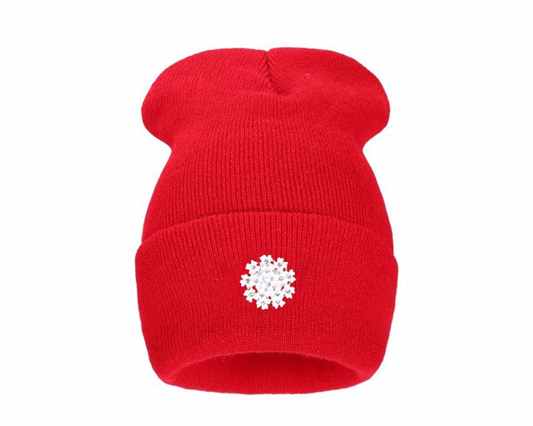 Ralferty New Fashion Lovely Knitting Wool Acrylic Beanies Hip Hop One Flower Hats for Women Gorros Bonnets Caps Woman Floral Cap 4