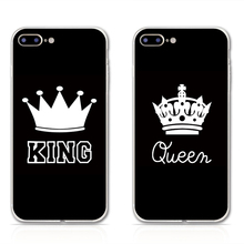 KING Queen Nice Phone Cases For iphone 5 5S SE 6 6S 6Plus Clear Silicone TPU Soft Dust plug Case for iPhone 7 7Plus Cover