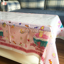 Party supplies 1pcs for baby girl 1st birthday pink theme party, birthday party decoration table cover one-off table cloth
