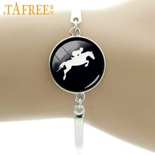 Buy TAFREE Brand Horse Racing silhouette bracelet vintage horseback riding jewelry gifts equestrians Derby Day black hole T783 for $1.20 in AliExpress store