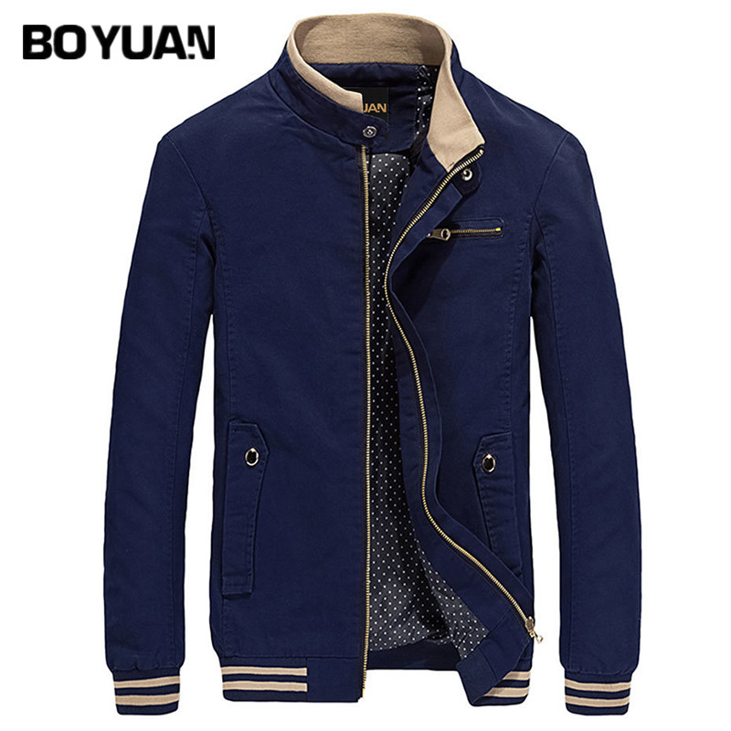 BOYUAN Bomber Jacket Brand Clothing 2017 Aumtum Spring Jacket Men Stand Collar Plus Size M-4XL Slim Fit Casual Solid Coat BY813(China)