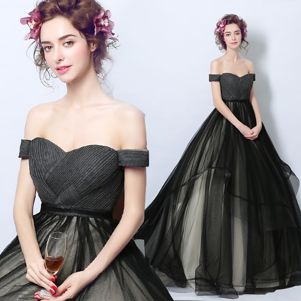 Black Ball Gown Evening Dress Ball with Pleats