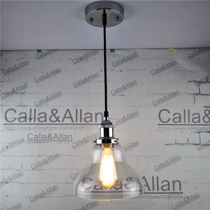 Chrome E27 Pendant Light Fixture Edison clear glass shade Hanging lamp Retro Industrial Pendant Lamp with fabric wire and mount<br>