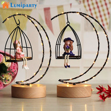 LumiParty Girls Moon Shape LED Desk Lamp Fairy Lights For girls Bedroom Nightlights Resin Craft Toy Decoration Romantic Lighting