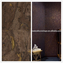 21017 New Dark Brown Wood Wallpaper With Golden Foil Background Sound Proof Material For Living Room Decoration