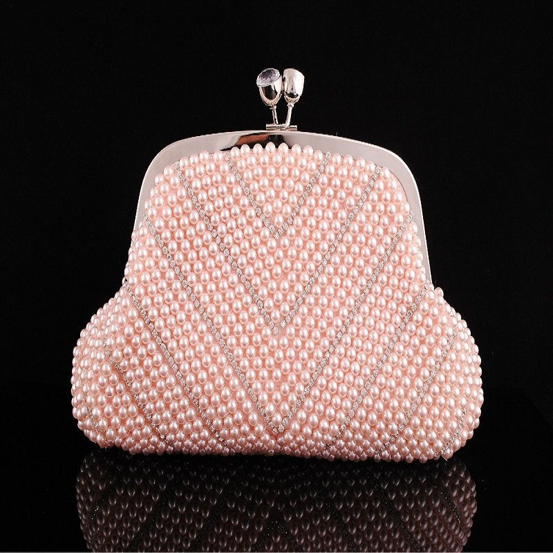 2017 price womans purse imitation pearls evening bags Shell Shaped Handmade Beaded Clutch party Floral Purse HandbagMinaudiere2<br>