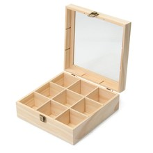 Jewelry 9 Compartments Tea Storage Box Wooden Colour Container With Glass Top Chest Tin Gift Store Box Case Container