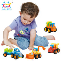 4pcs/Lot Baby Toy Truck Vehicle Pull Back Car Model Children Playing Toys Beach Sand Tools with Original Box HUILE TOYS 326(China)