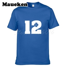 Men T-shirt #12 Andrew Luck Indianapolis Tees Short Sleeve T SHIRT Men's Four Leaf Clover Logo W1029009(China)