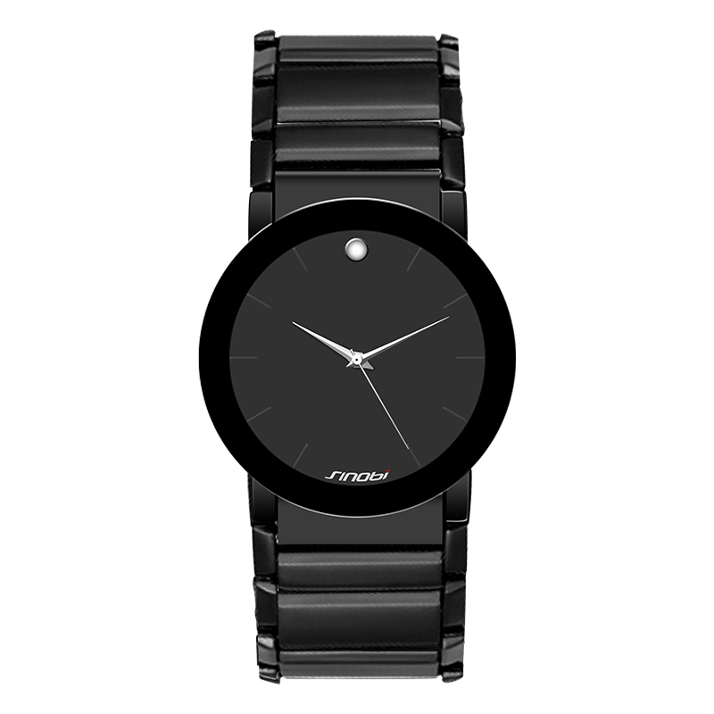 SINOBI Simple Mens Black Wrist Watches Stainless Steel Watchband Top Luxury Brand Males Geneva Quartz Clock Boy Wristwatch 2016<br><br>Aliexpress