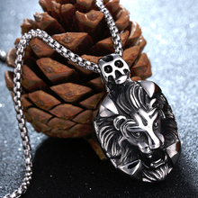 Punk Lion Head Pendant Necklace For Men Luxury 316L Stainless Steel Male Jewelry Friendship Gift(China)
